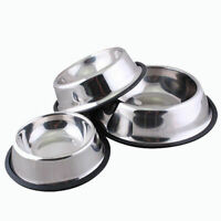 STAINLESS STEEL PET DOG CAT FOOD NON SLIP BOWL METAL DISH PLATE Size S-L