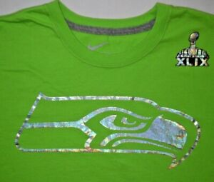Mens BNWOT Green/Silver NIKE Seattle Seahawks Super Bowl XLIX T Shirt size L