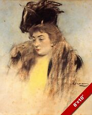 WOMAN WEARING FUR & LARGE HAT PORTRAIT SPANISH PAINTING ART REAL CANVAS PRINT