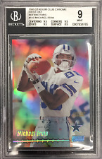 1999 STADIUM CLUB MICHAEL IRVIN FIRST DAY ISSUE CHROME REFRACTOR 6/25 BGS 9 MINT