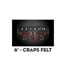 2 Professional Craps Black Digital 6' Table Layout Felt & Water Stain Resistant
