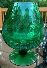 """VTG Mid Century Modern BLENKO Crackle Glass BRANDY SNIFTER Green 6 3/4"""" Pontil"""