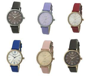 Omax Women's Diamante Dial Leather Strap Watch, Analog Display, Japanese Quartz