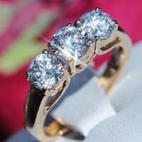 14k yellow gold 3 stone engagement ring 1.50ct diamond sz 5 vintage 3.8gr N2518B