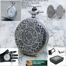 Antique 925 SILVER Plate Men Classic Quartz Pocket Watch Gift Fob Chain Box P62