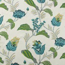 """BALLARD DESIGNS EMMIE BLUE GREEN LUSH FLORAL MULTIPURPOSE FABRIC BY YARD 56""""W"""