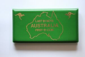 Australia Dollar $1 FIRST Coin LAST Banknote Green Wallet Folder (AB50484/K4)