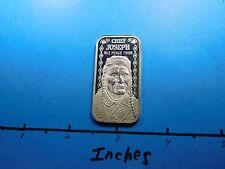 CHIEF JOSEPH NEZ PERCE TRIBE INDIAN 1975 VINTAGE 999 SILVER MINT BAR COIN RARE
