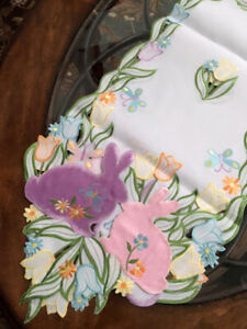 """Easter Decor Table Runner Easter Bunny Embroidered Design 69"""" L Tulips Butterfly"""
