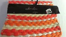 Table Runner Marlo Lorenz Signature Orange and White  Thick Weave 14x72