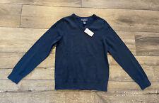 Nwt Land' End School Uniform Sweater Boy Girl Navy Blue V Neck Pullover M 10 11