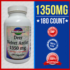 VELVET DEER ANTLER 1350MG 180 Capsules DIETARY SUPPLEMENT Made USA Max Strength