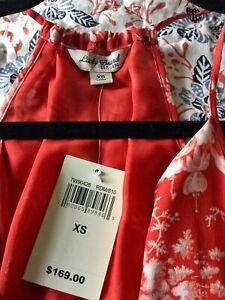 Lucky Brand Women's Silk Red Floral Print Maxi Dress Size XS