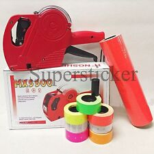 Mx-5500 Eos 8 Digits Price Tag Gun Labeler Labeller + 5000 Red labels +1 Ink