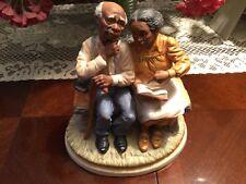 Homco Masterpiece Porcelain Elderly African American Couple Bible Study #8828