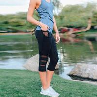 Lady Sports Leggings Mesh Splice Slim Elastic Fitness Yoga Pants with Pockets