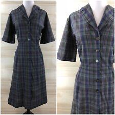 Vintage 50s Navy Blue Green Midi Shirt Dress American Golfer Pockets Plus 2X