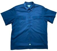 Carhartt Mens XXL Navy Blue Twill Work Wear Short Sleeve Shirt