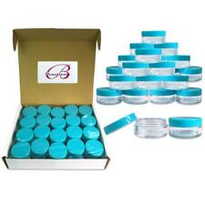 40 Pieces 10G/10ML Round Cosmetic Cream Clear Plastic Sample Pot Jars Teal Lids