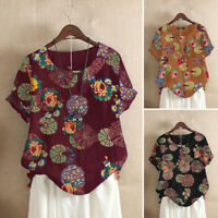 Women Summer Cotton Top Ethnic T-Shirt Tee Vintage Retro Floral Printed Blouse