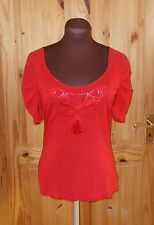 PER UNA scarlet red short sleeve chiffon floral sequin tunic t-shirt top 10 38