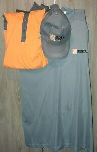 2 -Home Depot XXXLarge 3XL Employee Uniform Gray & Orange/Gray Polo Shirt w/ hat
