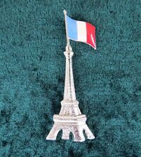 Pierre Bex Ferraggioli Silver Plate Eiffel Tower & French Flag Brooch