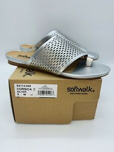 SoftWalk Women's Corsica II Slide Flat Sandals Silver Leather US 8W