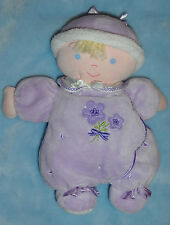 Carters Purple Lavender Baby First Doll Rattle Flower Blond Blue Eyes Plush Toy