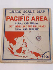 WWII LARGE SCALE MAP OF THE PACIFIC AREA - LARGE COLOR MAP - VERY NICE -   TUB M