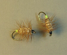 Lot of 2 Brown Bug Green Butt - Atlantic Salmon and Trout Flies