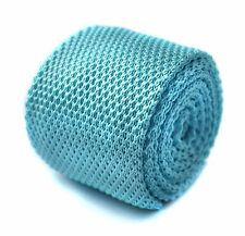 Frederick Thomas plain tiffany turquoise blue knitted men's tie FT293