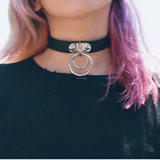 Handmade Punk Rock Dark Harajuku Double O RING Leather Collar Choker Necklace LE