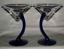 Martini Glasses Bravura by Libbey (Set of Two) Exquisite Cobalt Blue Curved Stem