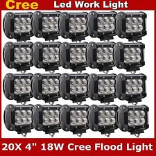 "20X 4"" 18W CREE LED Work Light Bar Flood 4WD Offroad Driving SUV Boat Jeep Auto"