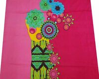 """Pink Floral Print Cotton Fabric 43"""" Wd Craft Making Kurti Material By The Metre"""