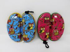 Hard Zippered Owls Glasses Case Pouch