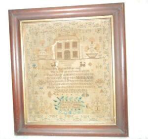 ANTIQUE SAMPLER ELANOR EVANS AGE 12 MAY 25TH 1849 ORIGINAL FRAME