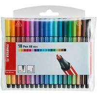 Stabilo Pen 68 Mini Felt/Fibre Tip Pens 1.0MM - 18 Assorted Colours In Wallet