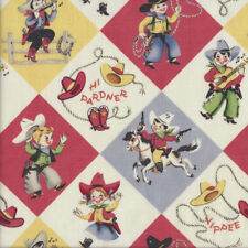 Retro Cowboys Cowgirls Yippee Hi Pardner Country Quilting Fabric FQ or Metre *Ne