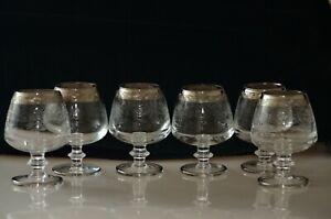 6 Cognacgläser Murano Medici Platinrand Brandy Gläser Handfertigung Ätzdekor