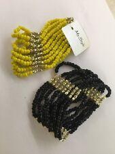 Yellow Black Gold Tone bracelet seed bead stretch beaded stack 2 Bracelets