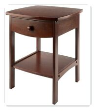 Walnut Accent Table Wood Drawer Storage Shelf End Sofa Side Night Lamp Stand New