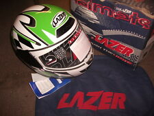 MOTORCYCLE HELMET ATTACK RACER 2 LAZER EXTRA LARGE (XL) GREEN WHITE R26