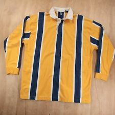 vtg 90s GAP striped polo rugby shirt XL yellow blue white long sleeve 90s