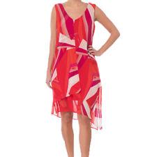 Joseph Ribkoff 182608 Women Red White Sleeveless Chiffon Dress Size 14 US NWT