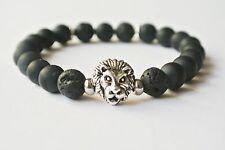 Handgefertigtes Löwen Armband mit Onyx Perlen Lava Lion Buddha Bracelet Fashion