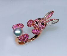 18k ROSE GOLD DIAMOND RUBY PINK SAPPHIRE PEARL BUNNY RABBIT WRAP AROUND RING