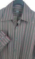 HUGO BOSS Mens Brown Striped L/S Dress Shirt 16.5-35 Slim Fit Cotton
