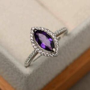 1.45 Ct Genuine Diamond Amethyst Rings 14K White Gold Gemstone Band Size N M J I